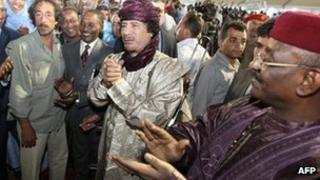Ex-Libyan leader Muammar Gaddafi (C) at a ceremony in 2009 attended by Tuareg groups from Libya, Mali and Niger