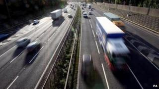Cars and lorries on a motorway