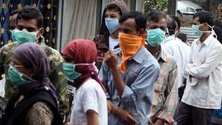 Swine flu tests outside a hospital in Pune