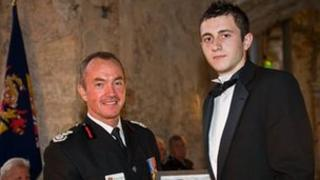 Mr Robinson is awarded the Chief Fire Officer's Certificate of Commendation