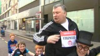 Stephen Nolan getting a little help from some friends to get around the route