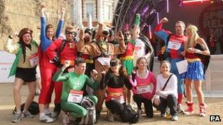 Sport Relief London Mile participants dressed as super heroes