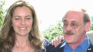 Antonio Tabucchi at the 1996 Cannes Film Festival with British actress Greta Scacchi