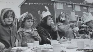 Street party in Andover in 1977 for the Queen's Silver Jubilee. Steffan Squire is fourth from the left