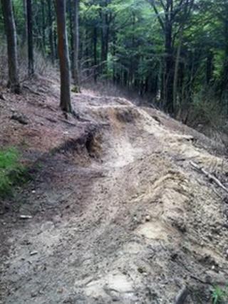 Mountain bike damage to Roddenbury Hillfort, in Wiltshire