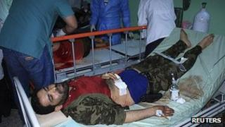 Wounded fighters treated at Sabha hospital. 26 March 2012