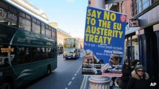 A poster in Dublin arguing against the EU pact, 4 March 2012.