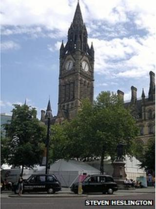 Taxis outside Manchester Town Hall