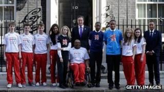 Young athletes outside Downing Street