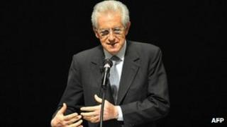 Italian Prime Minister Mario Monti speaking in Tokyo, 28 March