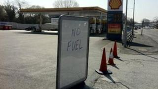 "Shell Eastham on the Wirral with ""no fuel"" sign on Wednesday"