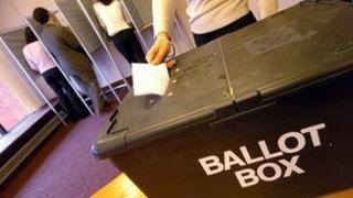 Voter at ballot box