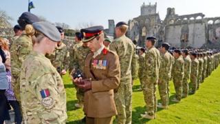 Medal presentation at St Davids, Pembrokeshire