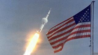 Apollo 11 blasting off in 1969