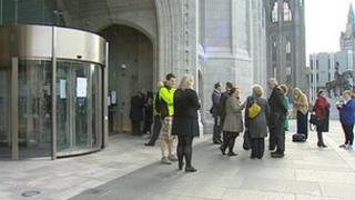 Staff outside Marischal College