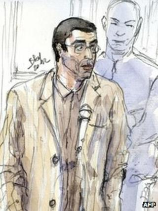 A court drawing of Adlene Hicheur, 29 March 2012