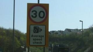 Speed camera sign at the Saltash Tunnel