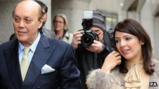 Asil Nadir arrives with his wife Nur at the Old Bailey in London in 2011