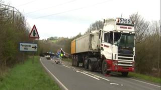 The scene of the crash on the A40 at St Clears