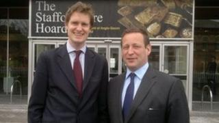 Stoke-on-Trent Central MP Tristram Hunt (Lab) with Culture Minister Ed Vaizey outside the Potteries Museum in Hanley, Stoke-on-Trent