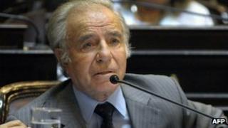 Carlos Menem, speaks at the Senate in Buenos Aires on July 17, 2008