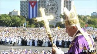 Pope Benedict celebrating mass in Havana's Revolution Square, 28 March 2012