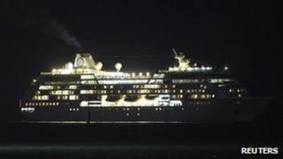 The cruise liner Azamara Quest arriving in Sandakan on 1 April 2012