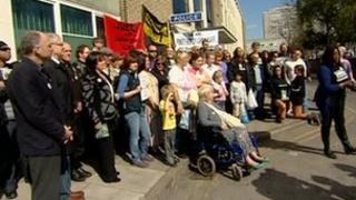 Vigil outside Hull's Queens Gardens police station for Christopher Alder.