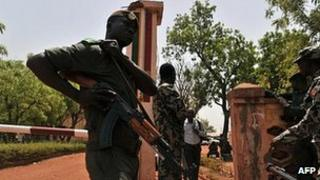 Mali troops at the Kati military camp. 1 April
