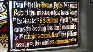 Inscription on stained glass window at St Helen's Church in Chipping Ongar