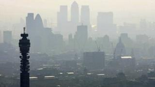 London skyline in the smog
