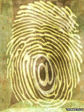 An @ sign in a fingerprint