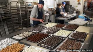 Workers producing chocolate at Cocoa Mountain, Balnakeil, Durness