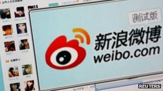 """The logo of Sina Corp's Chinese microblog website """"Weibo"""" (file photo)"""