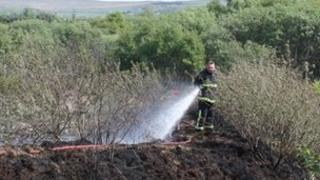 Firefighter damping down peat