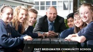 Head teacher Peter Elliott with students at East Bridgwater Community School