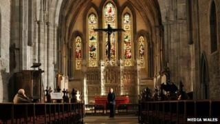 The bronze cross cast from driftwood at Brecon Cathedral