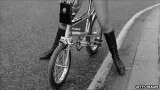 Woman on a Raleigh Chopper in 1971