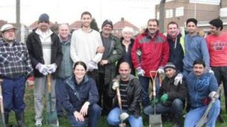 Members of the two groups planted trees in West View Cemetery in Hartlepool