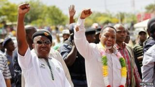 Julius Malema (L) and Deputy President Kgalema Motlanthe, 25 March 2012