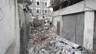 A view shows damaged buildings in the old city of Homs on 30 March