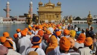 Sikh devotees at the Golden Temple in Amritsar, Punjab