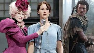 Elizabeth Banks and Jennifer Lawrence in The Hunger Games pictured alongside Sam Worthington in Wrath of the Titans