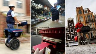 Postal employees in San Francisco, Bangkok, London and Amsterdam