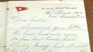 Letter sent from the Titanic by Charles Morgan