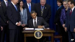 President Obama signs the Stock Act with members of Congress, 4 April 2012