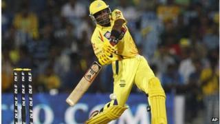 "Chennai Super Kings"" batsman Dwayne Bravo plays a shot during Indian Premier League (IPL) cricket match between Chennai Super Kings and Mumbai Indians in Chennai"