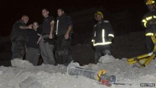 Grad rocket being inspected in Eilat