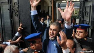 Khairat al-Shater after registering his candidacy for Egypt's presidency