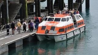 Cruise ship tender in St Peter Port Harbour